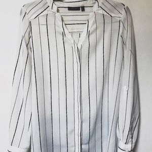 Apt. 9 White Chiffon Tunic w/Black Stripes